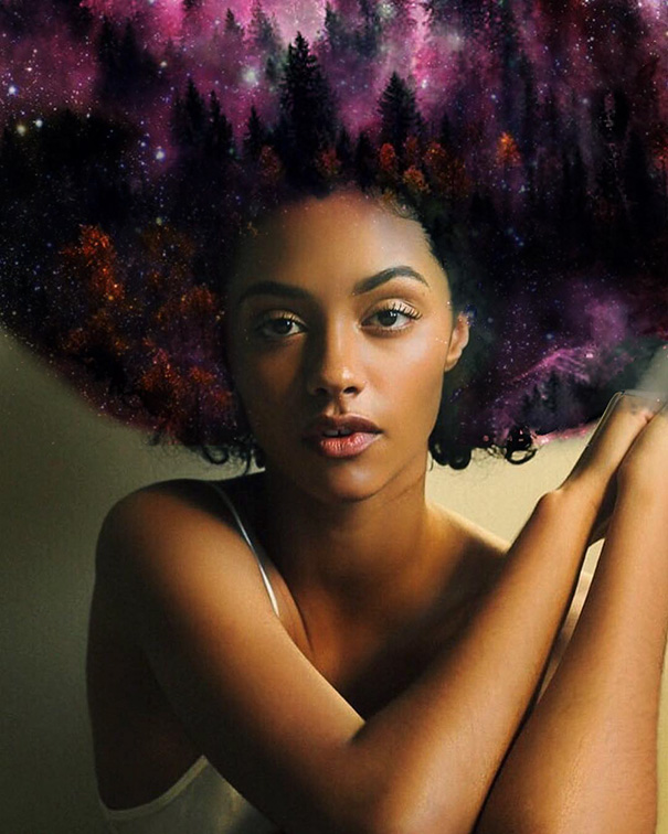 flowers galaxy afro hairstyle black girl magic pierre jean louis 24