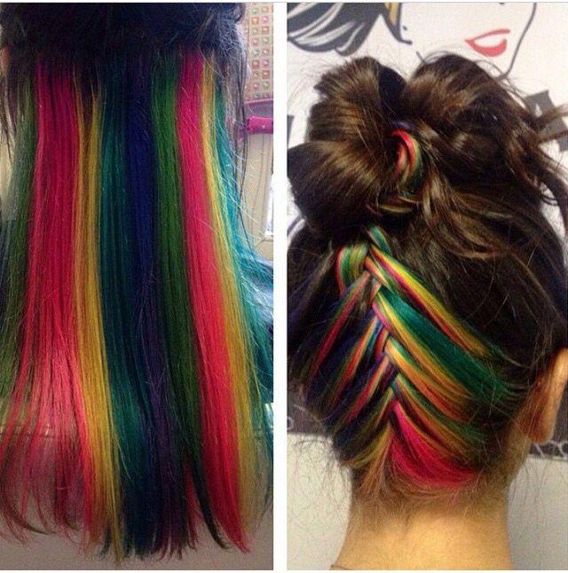 Related image | Hidden rainbow hair, Hair color underneath ...  |Rainbow Hair Underneath Light
